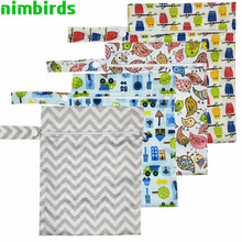 10 PCS Waterproof Reusable Wet Bag Printed Nappy Bags PUL Travel Dry Washable Wetbag 20x25 cm Diaper Wholesale