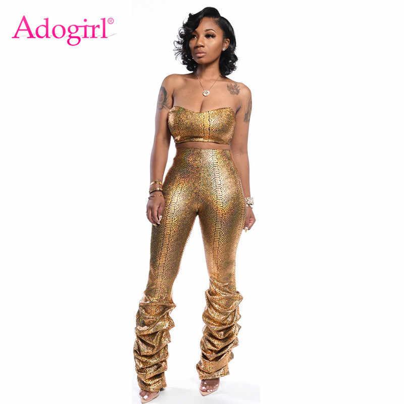 Adogirl, золотой змеиный принт, женский сексуальный комплект из двух предметов, без бретелек, топ с рюшами, обтягивающие штаны, костюм для ночного клуба, вечерние наряды