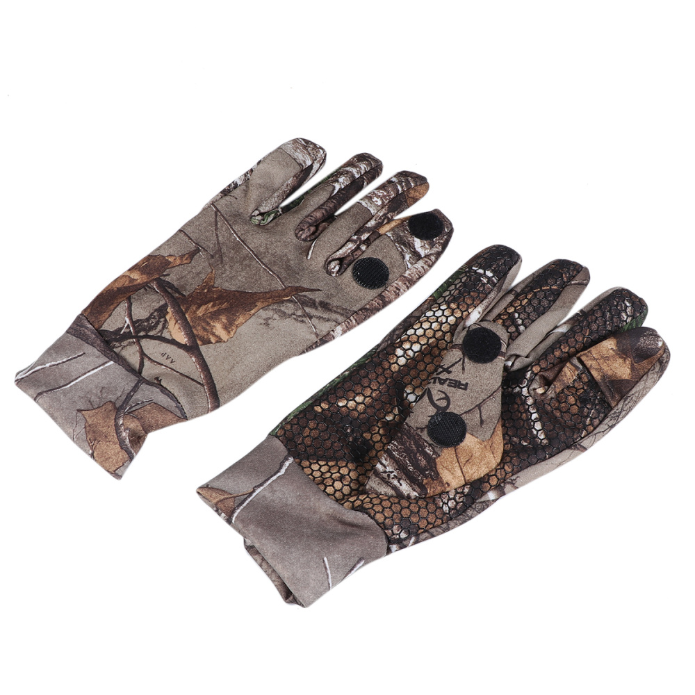 Cut Finger Gloves with Anti-slip Silicone Camouflage Protective Gloves for Fishing Cycling (Size M) image