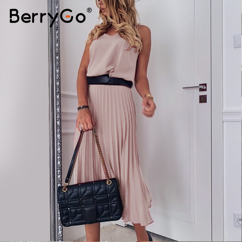 BerryGo Sexy spaghetti strap summer dress women A-line hot pink female pleated midi dress Casual office ladies party dresses 5