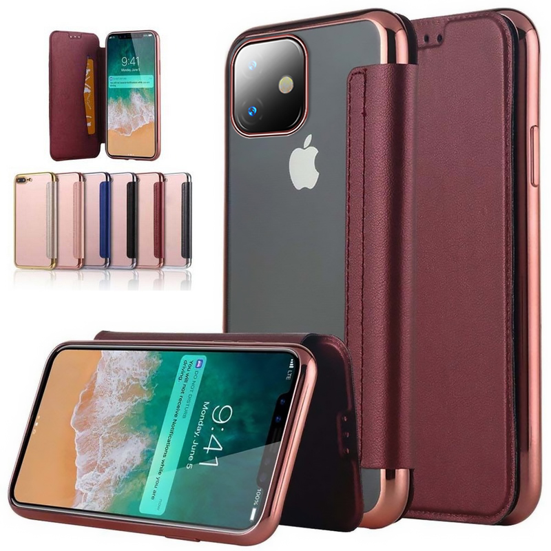 For Apple iPhone X 11 Pro Case Slim Book PU Leather Silicone Flip Cover iPhone X 8 Plus Case With Wallet Card Holder Phone Full image