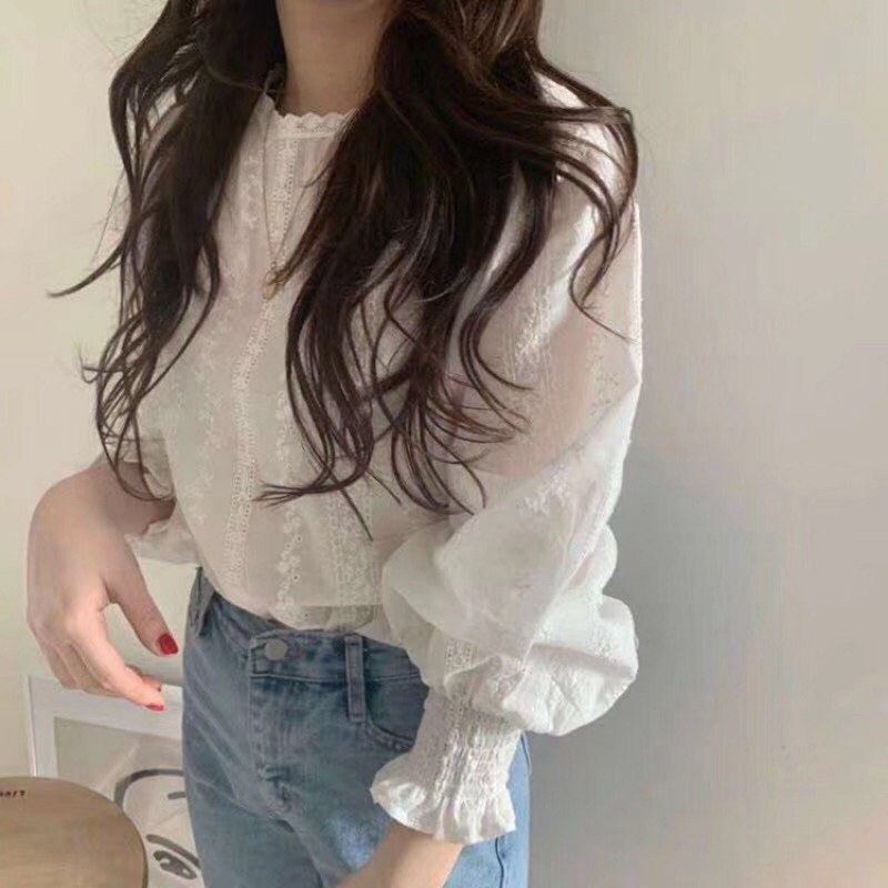 Spring Sweet Chiffon Blouse Women Fashion Bottoming Shirt Lace Lantern Sleeve Blouse