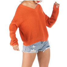 Casual Knitted Sweater Women's Loose Orange Bat Sleeve Bottoming Shirt Long Sleeve Sweater Fashion Ladies V-Neck Pullover Jumper