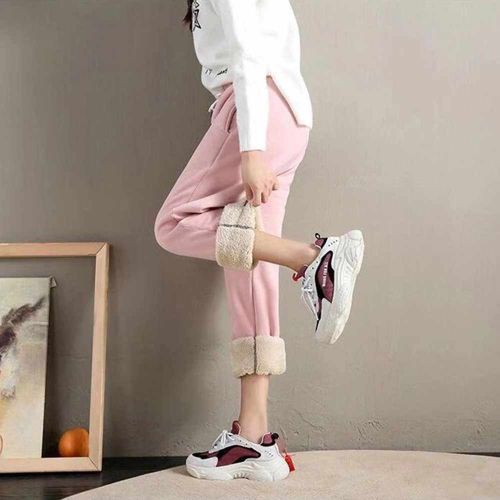 BEFORW 2019 Winter Frauen Baumwolle Verdickung Lmitation Lamm Haar Warme Jogginghose Casual Comfy Jogginghose Freizeit Hosen Hosen