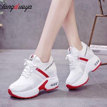 цены high white sneakers women Platform Shoes Heel Increasing Ladies Shoes Mesh Breathable shoes Wedge Black Woman Sneakers platform