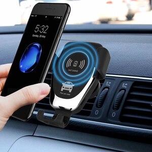 Image 2 - 10ワットチーワイヤレス車の充電器赤外線センサー自動クランプiphone 8プラスサムスンS9車の高速充電電話スタンド
