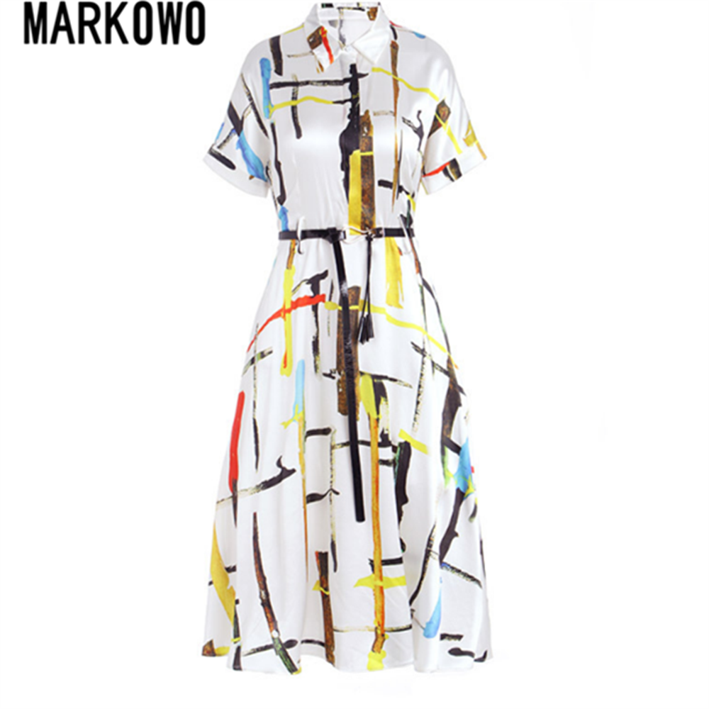 MARKOWO Desinger Brand 2020 Summer new loose high-end silk silk mid-length slim dress silk dress