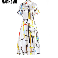 MARKOWO Desinger Brand 2020 Summer new loose high end silk silk mid length slim dress silk dress