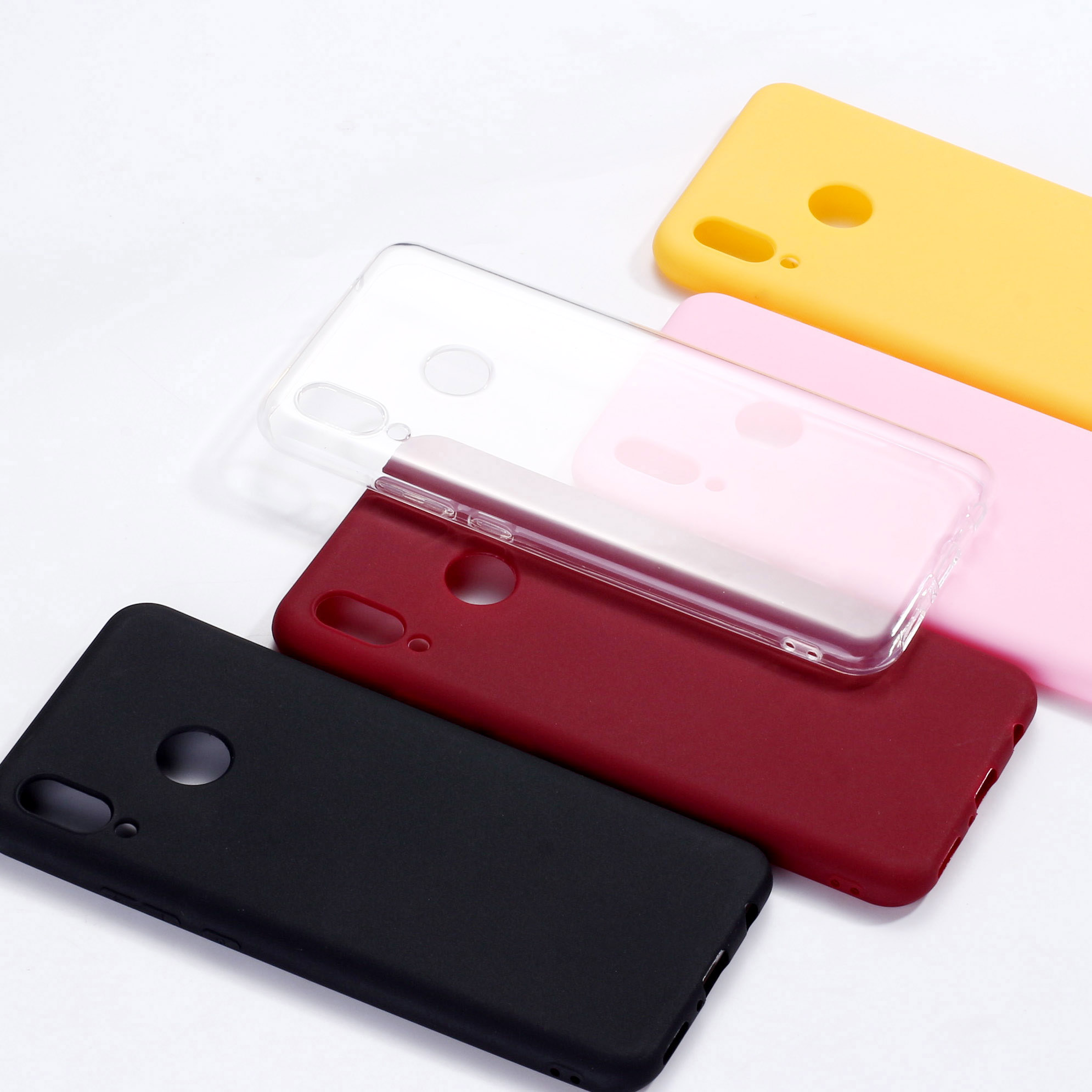 Simple Solid Color For <font><b>Xiaomi</b></font> Mi <font><b>Redmi</b></font> <font><b>Note</b></font> 5 6 7 8 9 lite <font><b>Pro</b></font> Plus Clear Crystal Candy Silicone Phone Case Cover Funda Coque image