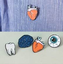 Korean version of the jewelry color drops of human body brooches brain eyes tooth brooch accessories wholesale Pin Badge(China)