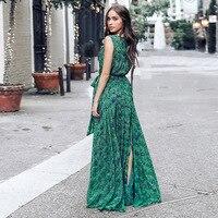 Deep V Neck Ruffle Flower Print Summer Dress Women High Slit Boho Dress Long Sleeveless Green Maxi Beach Dress Vestidos