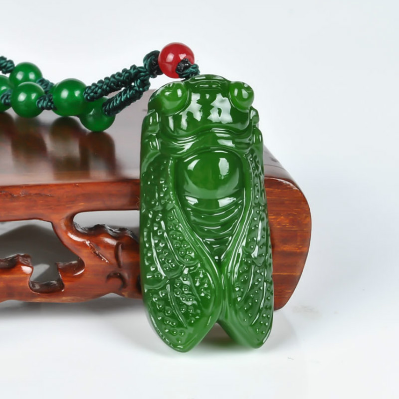 Natural Green Hetian Jade Stone Cicada Pendant Beads Necklace Chinese Jadeite Jewelry Charm Reiki Amulet Carved Gifts For Women
