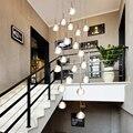 Habitación dormitorio decoración moderna G4 LED cuadrado lámparas múltiples accesorios restaurante escalera de cristal colgante de luz