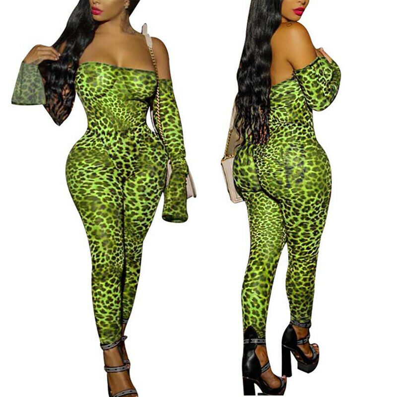 Women Off Shoulder Long Sleeve Stretch Animal Print  Jumpsuit  Serpentine Jumpsuits