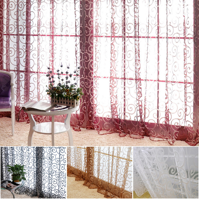 Pretty Floral Modern Sheer Tulle Curtains for Living Room Bedroom Kitchen Voile Sheer Curtains for Window Tulle Curtains Drapes1 4