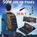 Водонепроницаемая складная солнечная панель с 10 в 1 USB-кабелем, 50 Вт, 5 В