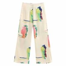 New Women popular colorful painting wide leg pants femme leisure zipper Trousers office lafy wear casual slim chic pants P603