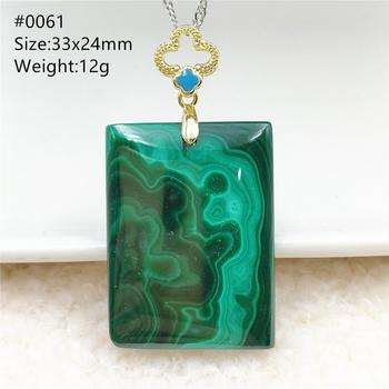 Genuine Natural Green Malachite Chrysocolla Pendant Women Men Rectangle Gemstone Crystal Healing Stone Necklace Jewelry AAAAA