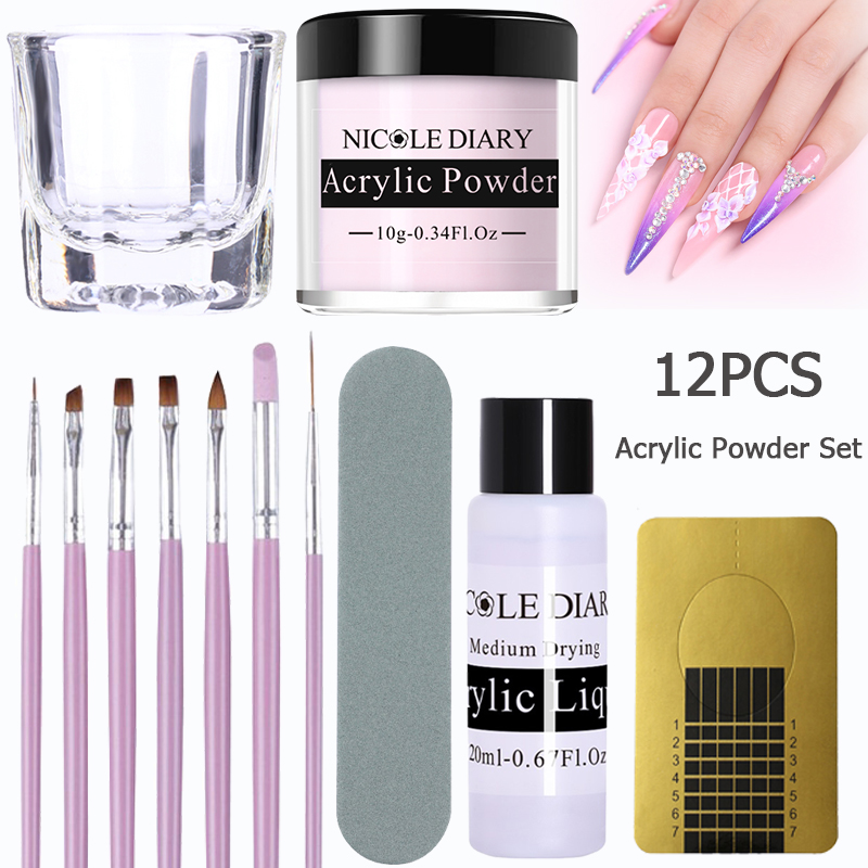 12Pcs/set Acrylic Powder Clear Extension Builder Crystal Nail Glitter Chrome 3D Nail Tips Carving  Art Tools 11/4/3/2pcs