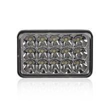 2pcs/set Car Auto 4*6 Inch Square Shape LED Crystal Light Clear Sealed Beam Headlamp with 15 High Power LEDs(China)