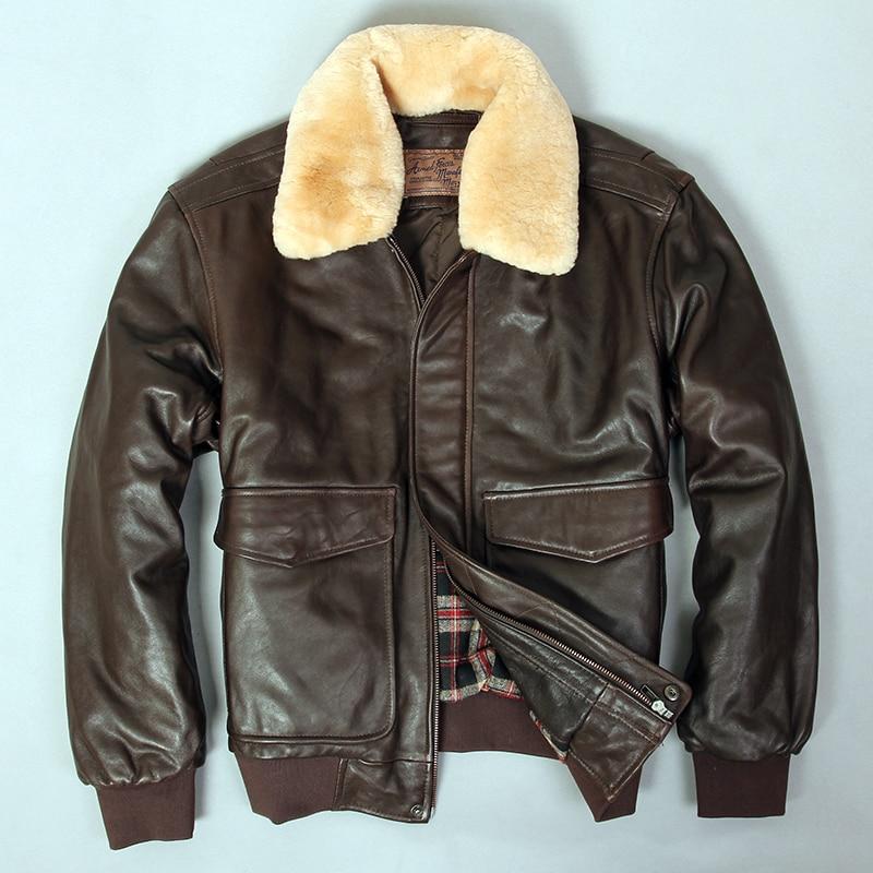 2019 militaly air force flight jacket fur collar genuine leather jacket men winter dark brown sheepskin Innrech Market.com