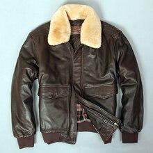 2019 militaly air force vlucht jas bontkraag lederen jas mannen winter donkerbruin schapenvacht jas pilot bomber jacket
