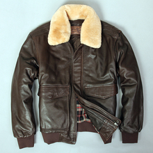 2019 militaly 空軍のフライトジャケット毛皮の襟本革ジャケット男性冬ダークブラウンシープスキンのコートパイロットボンバージャケット