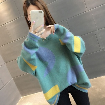 Pullover Sweaters Fashion 2018 Women Loose Autumn Winter Knit Sweater Plus Size  Christmas