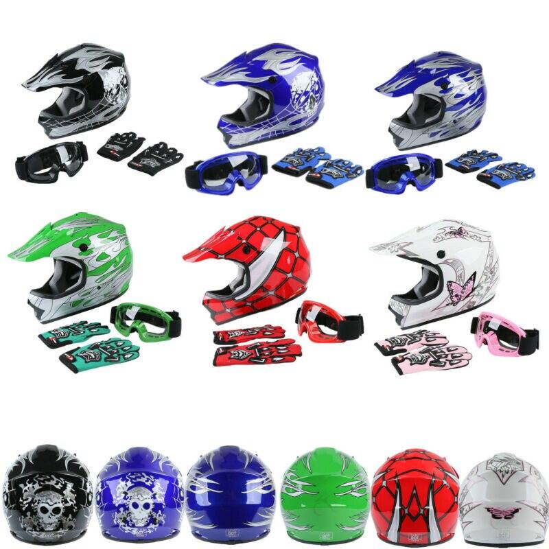 Casque de moto DOT jeunes enfants Dirt Bike ATV casque intégral lunettes avec gants tout-terrain course 6 couleurs S/M/L/XL