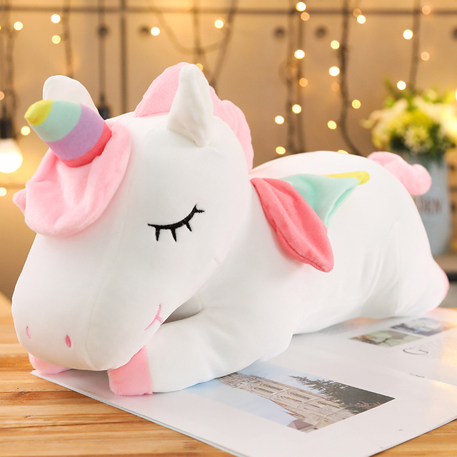 25-80cm Kawaii Giant Unicorn Plush Toy Soft Stuffed Unicorn Soft Dolls Animal Horse Toys For Children Girl Pillow Birthday Gift