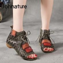 Johnature oryginalne skórzane buty Retro damskie sandały mieszane kolory sznurowane płaskie z ręcznie wydrążonymi zwięzłymi sandały na platformie