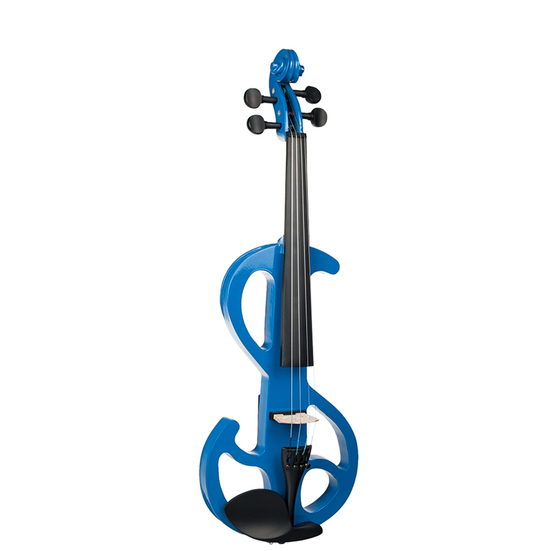 Naomi Violin Full Size 4/4 Solid Wood Electric Violin Basswood Body Ebony Fingerboard Pegs with Violin Accessories Lake Blue
