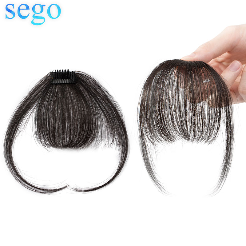 SEGO 100% Real Natural Hair 3D Thin Small Air Bangs with Temples Non-Remy Clip in Human Hair Extensions 360 Fringe Hairpiece