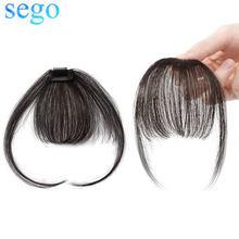 SEGO 100% натуральные волосы 3D тонкая маленькая воздушная челка с дужками не-Реми на заколках для наращивания человеческих волос 360 парик с челк...