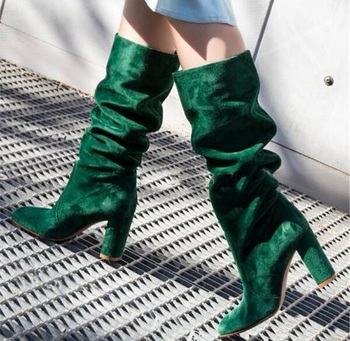 Round Toe Suede Leather Green Blue Pleated Knee High Chunky Heel Boots Woman Fashion Slip-on Long Thick High Heel Long Boots
