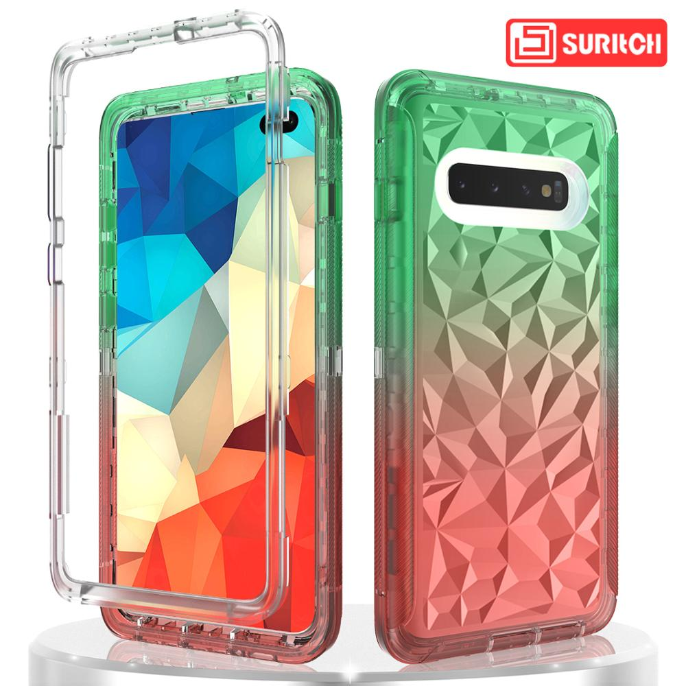 Gradient Color Clear Phone <font><b>Case</b></font> For <font><b>Samsung</b></font> Galaxy S10 Plus <font><b>S10e</b></font> <font><b>Case</b></font> Transparent hard PC Soft TPU Colorful Cover <font><b>Case</b></font> Coque image