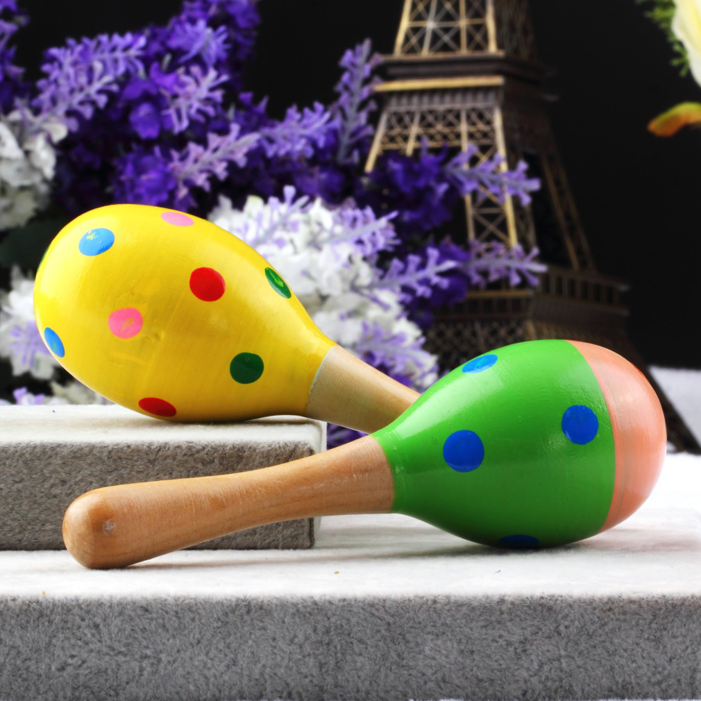 1pcs Colorful Maracas In Legno Del Bambino Del Bambino Strumento Musicale Rattle Shaker Partito Regalo Dei Bambini Del Giocattolo