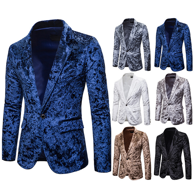 Mens Blazer Slim Fit Suit Jacket Velvet 2020 Spring Autumn Outwear Coat Free Shipping Suits For Men Coat