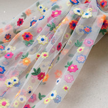Colorful Flowers Embroidered Nude White Tulle Lace Fabric High Quality French Multicolor Floral Mesh Fabric for DIY Girl Dress(China)