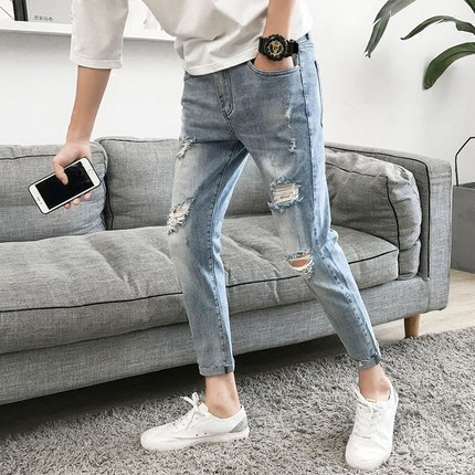 Capri Pants Men's With Holes Jeans Slim Fit Pants Versatile Pants 2019 New Style Korean-style Washing Trend Ripped Jeans