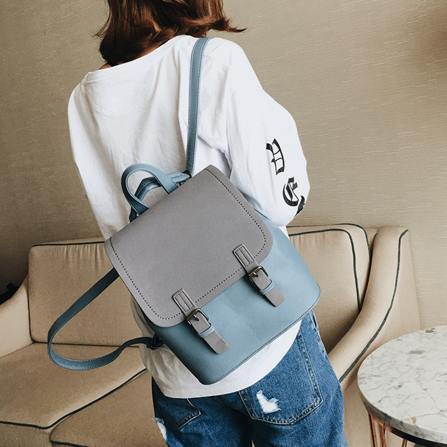 Fashion Korean Style Leather Small Backpack Women Candy Colors Teenage Girl Student Backpack High Quality Travel Female Backpack