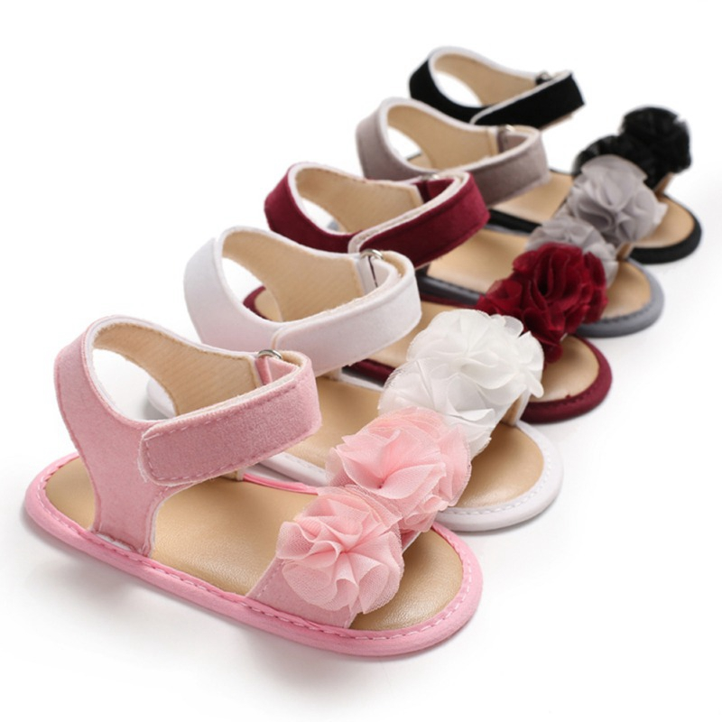 Baby Girl Sandals Soft Sole Baby Shoes Anti-slip Sandals Prewalkers Flower Design Walking Shoes Beach Sandals