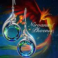 2 colores para mujer Nirvana de cristales de plata Fénix pendientes colgantes 2019 gancho de gota de moda regalo de la joyería de la boda