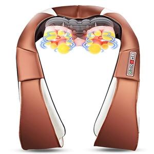 Image 2 - 3D kneading Shiatsu Infrared Heated Kneading Car/Home Massagem Cervical Back Neck Massager Shawl Device Shoulder Massager