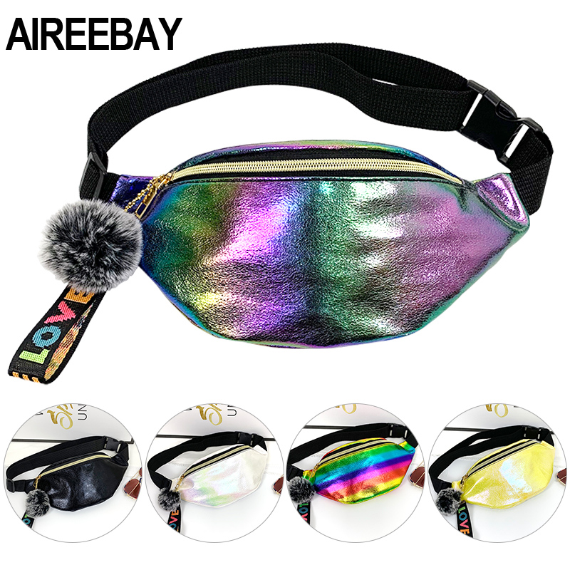 AIREEBAY New Fashion Women Waist Bags With Lovely Ball Pendant Holographic Fanny Pack For Girls Leather Waterproof Laser Bum Bag