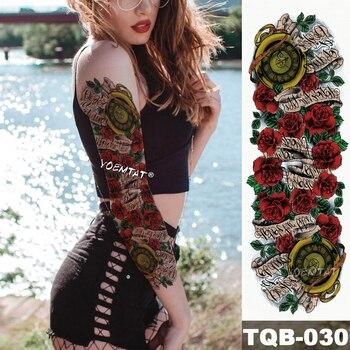 New 1 Piece Temporary Tattoo Sticker Rose scroll vintage Pocket watch Arm Body Art Big Sleeve Large Fake sticker