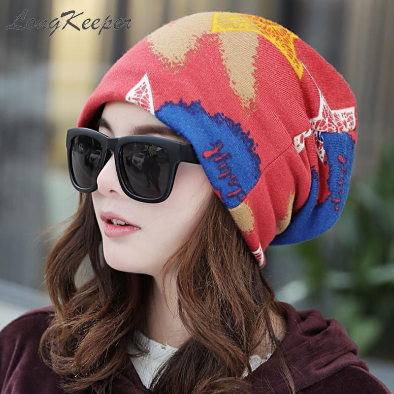 LongKeeper Imitation Cashmere Graffiti Five-pointed Star   Beanies   Thin/Thick Hip Hop Cap for Woman Spring Winter   Skullies     Beanies