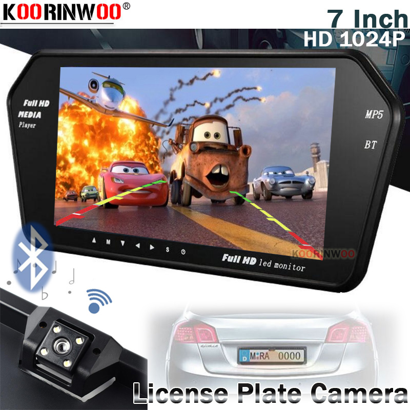Koorinwoo HD 1024P Car Monitor Mirror Screen For Sony CCD With Car Rearview Camaera Rear 7 Inch Media Bluetooth calling Phone USB SD Music Player Reverse Camaera Parking System TFT LCD Display Video Input Accossories(China)