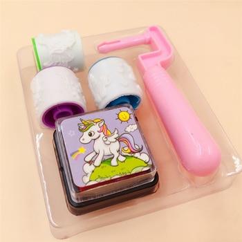 1 Pcs Unicorn Cartoon Stationery Roller Seal with Ink Mud Student Decorative Set