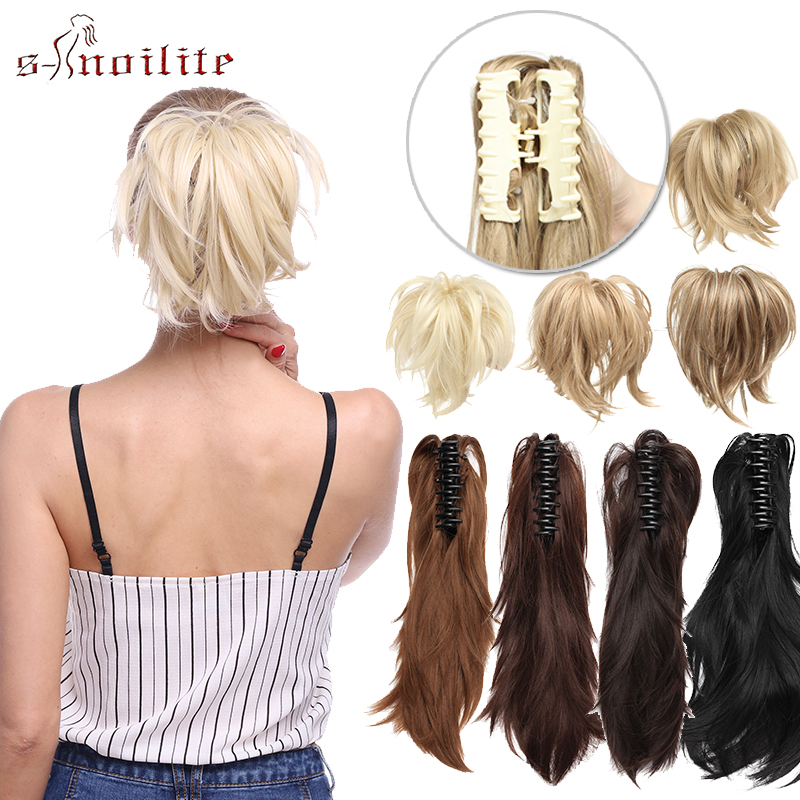 S-noilite Messy PonyTail DIY Short Wavy Clip In Claw Ponytail Hair Extensions Synthetic Hairpiece For Updo Fake Hair For Women
